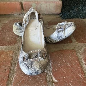Stuart Weitzman Lucid Python Embossed Ballet Flats